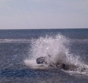 beim Kite-Surfing ..